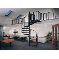 Quality Carbon Steel Bar Spiral Staircase Villa Wood Treads Indoor Spiral Stairs for sale