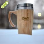 Quality 500ml Insulated Bamboo Coffee Travel Mug FDA LFGB SGS Approved for sale