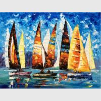 China Abstract Sailing Ship Oil Painting by palette knife / Hand Painted Thick Oil Painting on sale