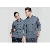 Quality Gray Personalized Custom Work Shirts , Slim Fit Double Breasted Chief Cook Uniform for sale