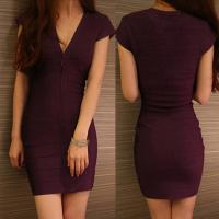 Quality Wholesale/retail stylish eggplant short sleeve deep v short tight  party dresses for sale