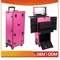 Quality Newest Design Professional Pink Pvc Makeup Trolley Case With Touch Screen Mirror Light for sale