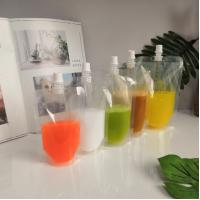 Quality 200ml 250ml 500ml fruit juice pouch transparent stand up spout pouch with cap for sale