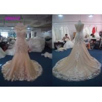 Quality Lovely Lace Multi Colored Wedding Gowns Column Embroidered Celebrity Mermaid for sale