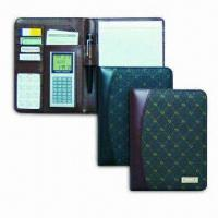 Quality PU Leather Portfolio with Metal Tag, Includes Multi-function Calculator for sale