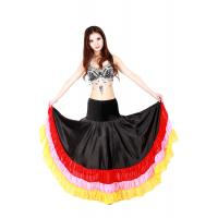 Quality Satin gorgeous belly dance circle skirt with ruffles , elastic waistband for sale