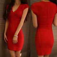 Quality Wholesale/retail stylish red short sleeve deep v short tight party evening dresses for sale