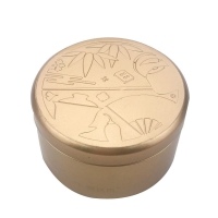 Quality Gold Color 0.25mm Iron Tea Tin Box With Emboss Lid for sale