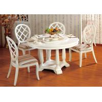 China Hotel Elegant Wooden Luxury Dining Room Furniture White Round Dining Table on sale