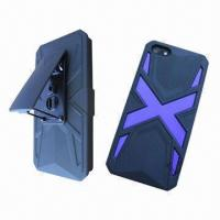 Quality Cellphone Cases for iPhone 5, Made of Silicone and PC, 3-in-1 Snap-on Holster Combo for sale