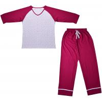 Quality Embroidered Womens Cotton Knit Pajamas / Ladies Loungewear Sets Any Color Available for sale