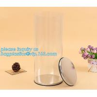 Quality clear PVC PET can for food canning,Customized round clear paint can with tin lid,paint can with tin top & bottom and han for sale
