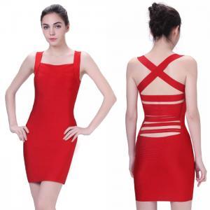 Quality new fashion unique design sexy red back strap short bodycon bandage dress for sale