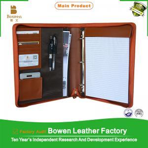 China BWA-18 Brown/black European style zipper portfolio / leather bag on sale