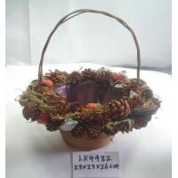 Quality 2018 new handmade basket,artificial crafts for holiday gifts ornaments and decoration,branches and bark and seeds made for sale