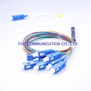 Quality 1×8 0.9mm Tube PLC Optical Splitter SC UPC Connectors G.657A For FTTX for sale