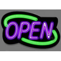 China Bright Green LED Open Sign Square Shape With 4 Display Modes For Coffee Shop Sign on sale