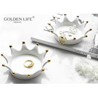 Quality Ceramics Gold Plating Crown Disc Fashion Creative Personality Jewelry Storage Dish Storage Dish Cake Plate Snack Tray Ce for sale