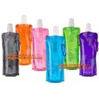Quality Spouted flexible foldable water bag with carabiner for running, flexible printing and lami for sale