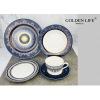 Quality Sunflower Porcelain 20-pc. Dinner Set Service for 4, 24K Gold-plated New Bone China Tableware for sale