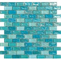 Light blue water waving glass mosaic tile for hotel swimming pool built material