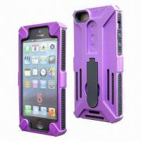 Quality Cellphone Cases for iPhone 5, Made of Inner Silicone + Outer PC, 3-in-1 Combo with Kickstand for sale