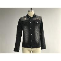 Quality Black Washed Badge Mens Denim Jacket And Jeans Button Through Trucker Jacket TW76375 for sale