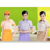 Quality Embroidery Logo Restaurant Staff Uniform , Cool Bar Work Shirts Suit Collar Style for sale