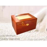 Quality Pet Aftercare Memorial Gifts Pine Wooden Tribute keepsake locking box with photo frame on lid, gold lock and key. for sale