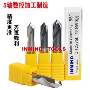 Quality HRC50 5 mm / 6 mm Chamfer Milling Cutter 5 * 50L * 90º  AlTiN Coating for sale