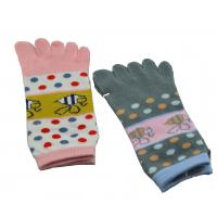 Quality Ladies Cute Cotton Five Fingers Ankle Toe Socks WIth Bee Pattern, Colorful Dot Cartoon socks for sale