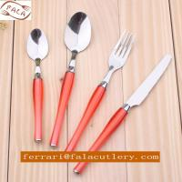 China 24 Pcs Salmon Pink PP Plastic Handle Cutlery And Tableware on sale