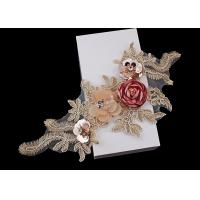 China 3D Flower Beaded Lace Embroidered Applique Patches Collar With Sequin Rhinestone on sale