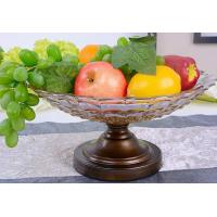 Quality tea color Fruits Bowl Glass With Stand for sale