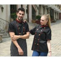 Personalized Chef Cook Uniform , Black Short Sleeve Chef Coat / Jackets For Hotel
