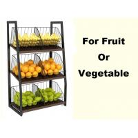 Quality Eyes Catching Supermarket Vegetable And Fruit Display Shelf With Metal Basket for sale