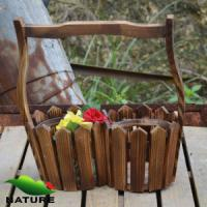 Quality Wood product » Wood planter & pot » Garden Wood Basket Shaped Flower Planter for sale