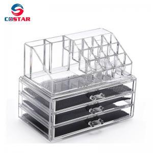 Quality Transparent cosmetics space saving storage shelf display stand rack wholesale makeup organizers for sale
