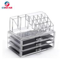 Buy cheap Transparent cosmetics space saving storage shelf display stand rack wholesale from wholesalers