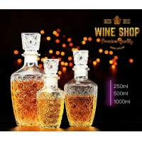 China 250ml 500ml Whiskey Glass Bottle Wine Container With Glass Lid Square Shape on sale