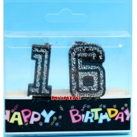 Extra Large Paraffin Tearless 16th Birthday Candle