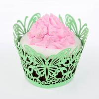 China Green Fancy Butterfly Cupcake Paper Wrappers Greaseproof Easy To Use on sale