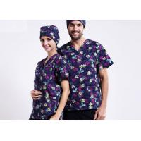 Quality V Neck Printing Scrubs Medical Uniforms , Fancy Pattern Cool Medical T Shirts for sale