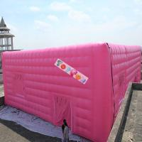 Quality Pink Fabric Inflatable Stitching Cube , Blowers Sewn Inflatable Cube Tent for sale