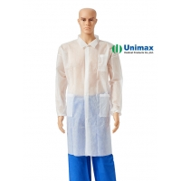 Quality Unisex PP SMS Disposable White Lab Coats Laboratory Knitted Collar for sale
