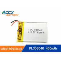 China 353040pl rechargeable 353040 3.7v 400mah lithium polymer battery for MP3 player, MP4 player on sale
