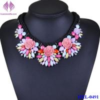 Quality New Fashion Jewelry Crystal Flower Chunky Statement Bib Pendant rope Chain Necklace for sale