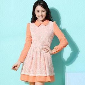 China Women's Chiffon Dress with Long Sleeves, Peter Pan Collar on sale