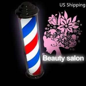 Quality Ameria Flag Strip Revolving Barber Pole Red White Blue Rotating Light Stripes Sign for sale