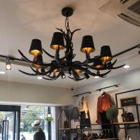 Quality Black antler chandelier Lighting With Lampshade For Coffee Bar Restaurant (WH-AC-05) for sale
